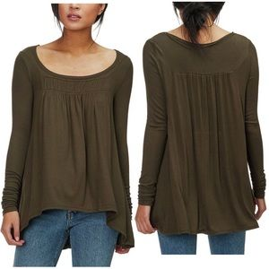 Free People Love Valley Long Sleeve HiLo Top Small